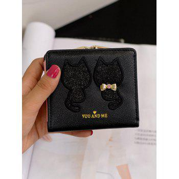 Sequins Bow Animal Pattern Wallet -  BLACK