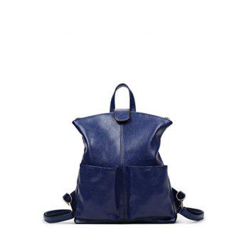 Magnetic Closure PU Leather Double Pocket Backpack