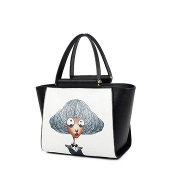Colour Block Metal Characters Printed Tote Bag