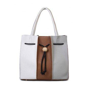 Textured Leather Colour Block String Tote Bag