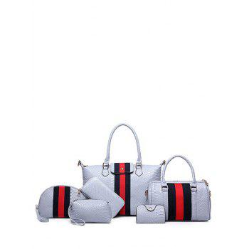 Colour Block Embossed Striped Pattern Tote Bag