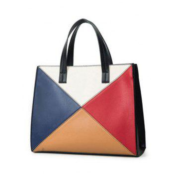 PU Leather Color Splicing Patchwork Tote Bag