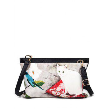 Colour Block Rivets Cat Printed Crossbody Bag