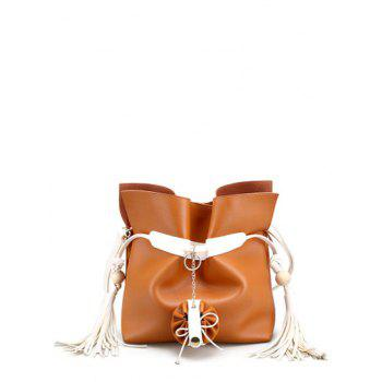 Colour Spliced Magnetic Closure Tassels Crossbody Bag