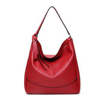 Zipper Textured Leather Metal Ring Shoulder Bag