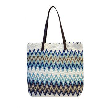 Colour Block Splicing Zigzag Pattern Shoulder Bag