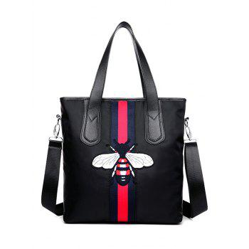 Embroidery Colour Block Bee Pattern Shoulder Bag