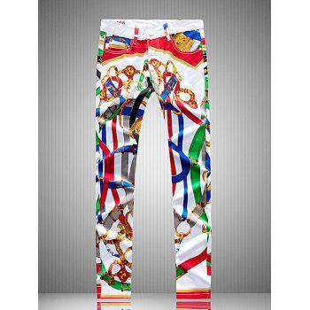Plus Size Colorful Belt Print Straight Leg Zipper Fly Pants