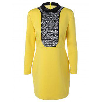 Rhinestone Long Sleeve Dress