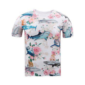 Round Neck Short Sleeve 3D Shark and Flowers Print T-Shirt