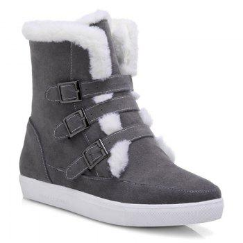 Fuzzy Buckle Straps Suede Short Boots