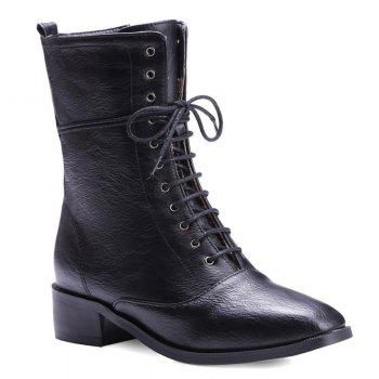 Eyelet PU Leather Lace-Up Combat Boots