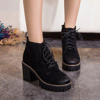 Retro Lace-Up Platform Chunky Heel Boots