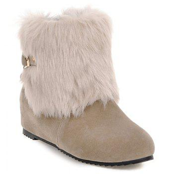 Faux Fur Buckle Hidden Wedge Short Boots
