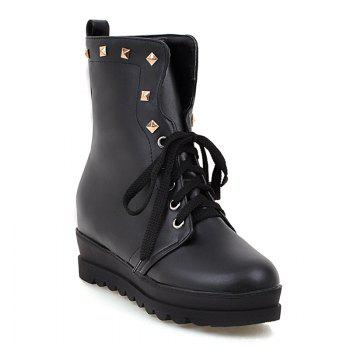 Platform Rivet Lace-Up Boots