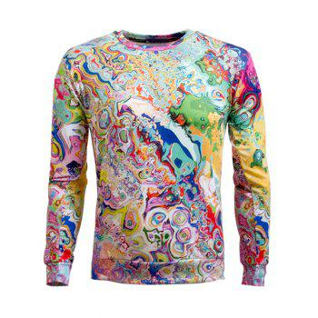 Round Neck Long Sleeve Abstract Printed Sweatshirt