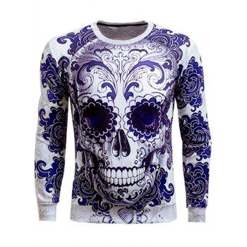 Skull 3D Printed Long Sleeve Round Neck Sweatshirt