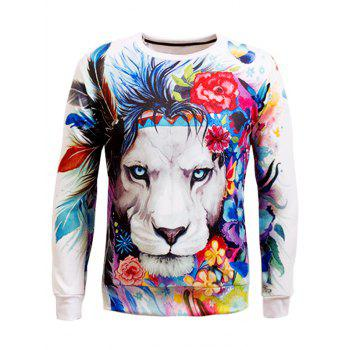 Animal 3D Print Long Sleeve Crew Neck Sweatshirt