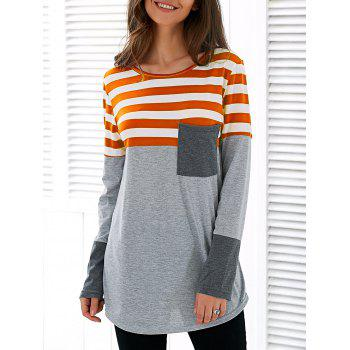 Patchwork Striped Asymétrique T-shirt