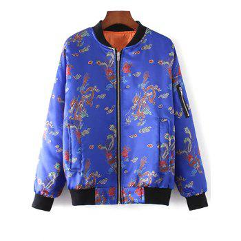 Chinese Dragon and Phoenix Print Padded Jacket