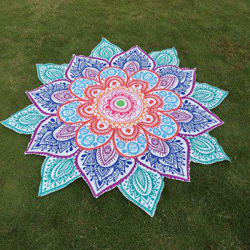 Multicolor Indian Mandala Paisley Lotus Shape Plage Throw