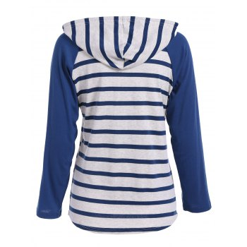 Raglan Sleeve Striped Hooded T Shirt - BLUE XL