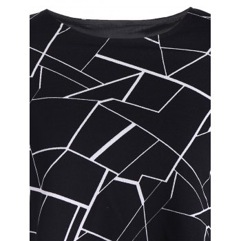 Flounce Splicing Print T Shirt - BLACK BLACK