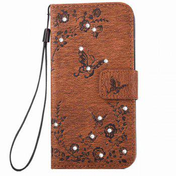 Rhinestone Floral Pattern  PU Leather Wallet Case For iPhone 6S -  BROWN