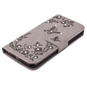 Rhinestone Floral Pattern  PU Leather Wallet Case For iPhone 6S - GRAY
