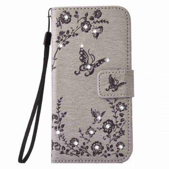 Rhinestone Floral Pattern  PU Leather Wallet Case For iPhone 6S