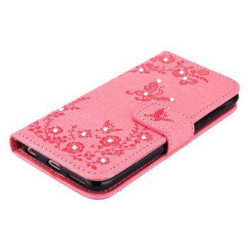 Butterfly Rhinestone Pattern Wallet Phone Case For iPhone 6S Plus -  PINK