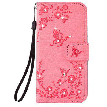 Butterfly Rhinestone Pattern Wallet Phone Case For iPhone 6S Plus - PINK PINK