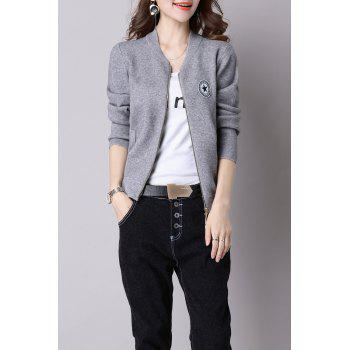 V Neck Zippered Knit Jacket - GRAY ONE SIZE