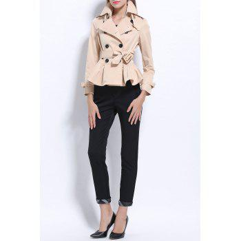 Short Belted Trench Coat - LIGHT APRICOT S