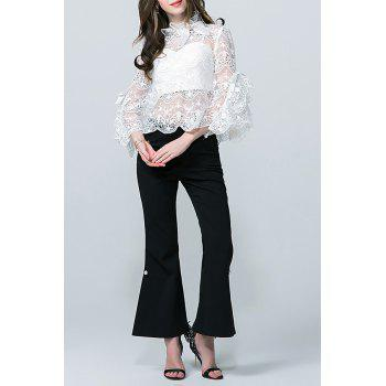 Flare Sleeve Lace See Thru Blouse with Tube Top - WHITE M
