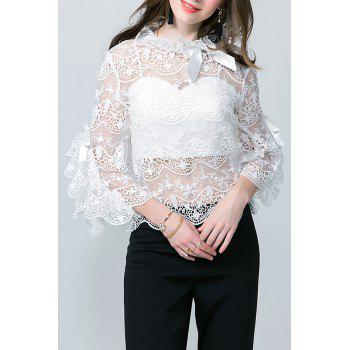 Flare Sleeve Lace See Thru Blouse with Tube Top