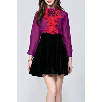 3D Flower See Through Ruffle Steampunk Blouse