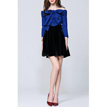 Bowknot Buttoned Blouse - BLUE S
