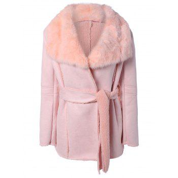 Belted Wrap Faux Lamb Wool Coat With Rabbit Fur