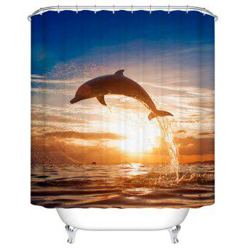 Waterproof Mouldproof Jumping Dolphin Printed Shower Curtain