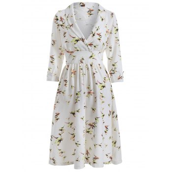 Vintage Bird Print Surplice Dress - WHITE WHITE