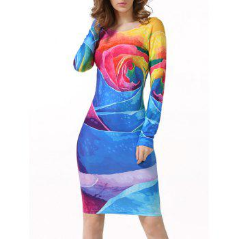 Scoop Neck Long Sleeve Tie-Dyed Bodycon Dress