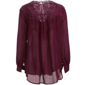 Long Sleeve Crochet Detail Lace Tunic Blouse - WINE RED S