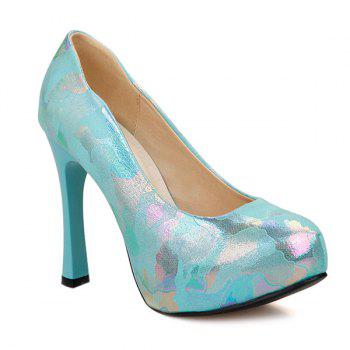 Printed Chunky Heel PU Leather Pumps