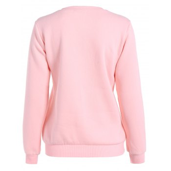 Plus Size Flocking Christmas Sweatshirt - PINK 5XL