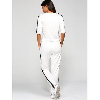 1/2 Sleeve T Shirt With Pants - WHITE S