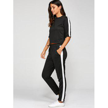 1/2 Sleeve T Shirt With Pants - BLACK S