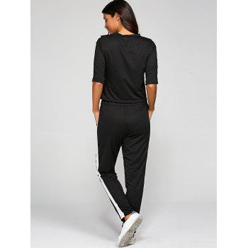 1/2 Sleeve T Shirt With Pants - BLACK L