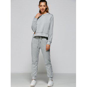 High Low Sweatshirt + Sweatpants - GRAY L