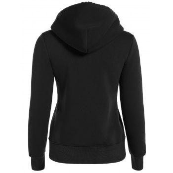 Zip Up Drawstring Pocket Conception Hoodie - Noir S